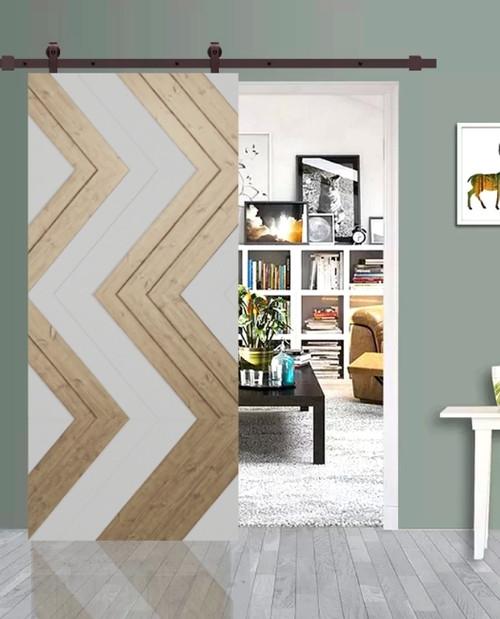 aztec tribal print custom living room sliding barn door with white paint