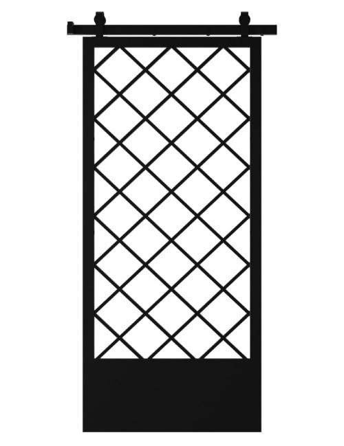 Custom Metal Diamond pattern Sliding Barn Door With Kick Plate