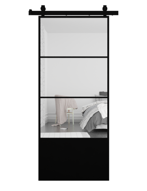 The Brielle 3 Panel Mirror Sliding Barn Door