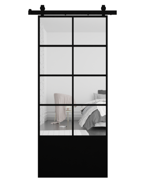 The Vivian 8 Panel Mirror Sliding Barn Door With Kick Plate