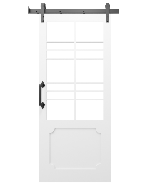 The Wyatt Large Two Panel Glass Custom Sliding Barn Door With Wood Kick Plate