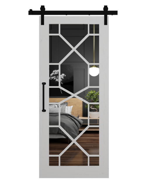 The Stacey Wood Frame Mirror with Geometric Grid Sliding Barn Door