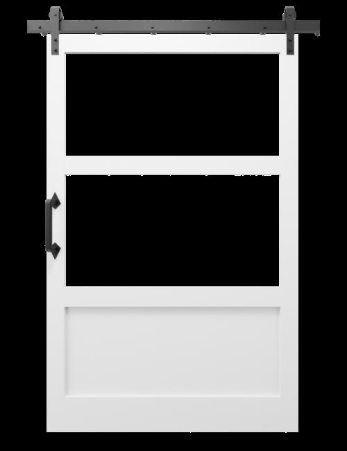 The Elena Cross Rail Window Custom Sliding Barn Door