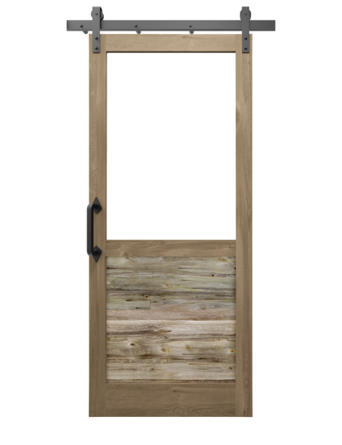 The William Custom Reclaimed Wood With Large Window Sliding Barn Door