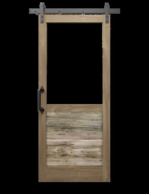 The William Custom Reclaimed Wood With Large Window Sliding Barn Door