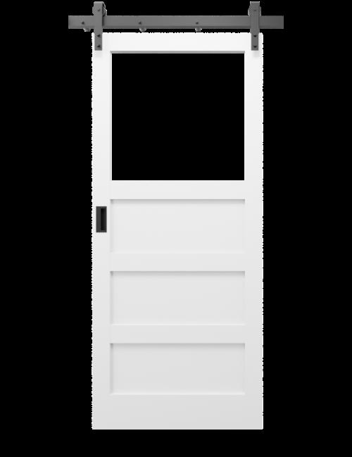The Carter 3 Panel Shaker With Custom Glass Window Sliding Barn Door