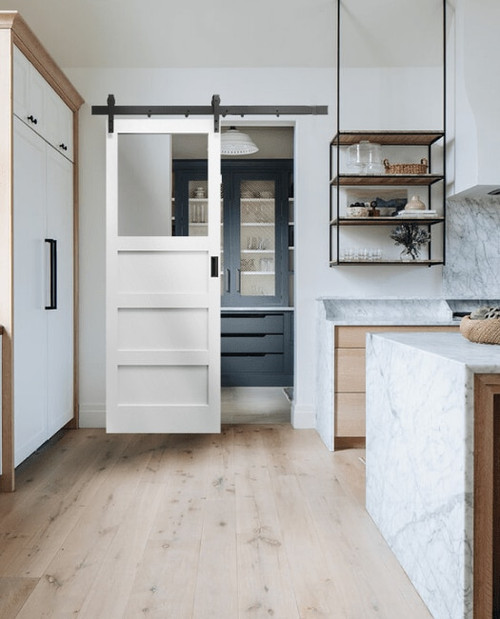 The Carter 3 Panel Shaker With Custom Glass Window Sliding Barn Door Lifestyle Kitchen Pantry