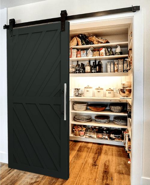 The Nora Diagonal Wood Pattern Custom Sliding Barn Door - Pantry Lifestyle Painted Black