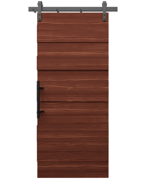 The Madison Walnut Multi Level Plank Custom Sliding Barn Door