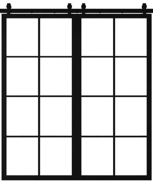 double 8 pane window french custom sliding barn door