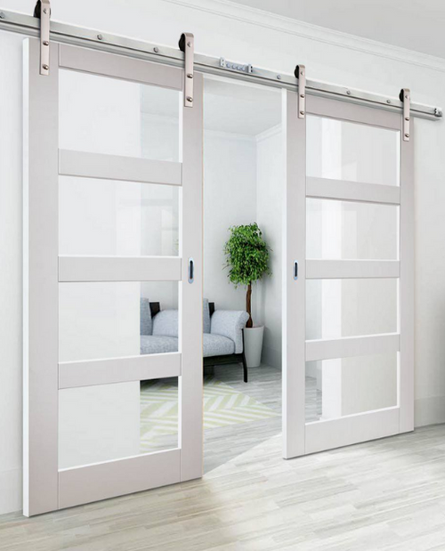 Four Panel Glass Double Sliding Barn Door to office