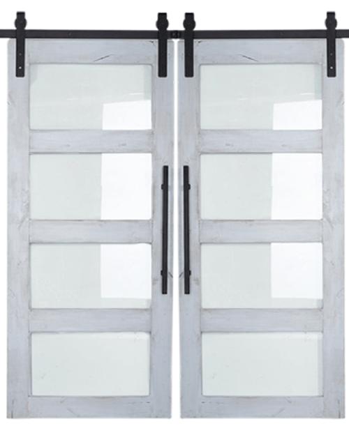 Four Panel Glass Double Sliding Barn Door