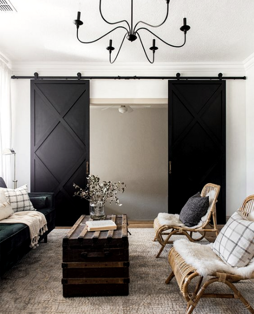 The Xavier Custom Double Sliding Barn Door living room