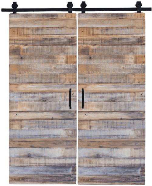 double reclaimed wood sliding barn door