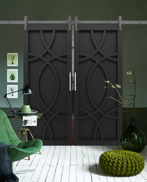 The Alice Wood Swirl Custom Double Sliding Barn Door - Lifestyle Reading Nook