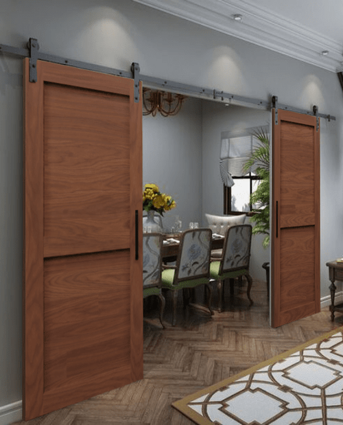 Two Panel Shaker Double Sliding Barn Door Lifestyle Dining Room