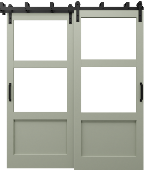The Elena Cross Rail Window Custom Bypass Sliding Barn Door Sage Green