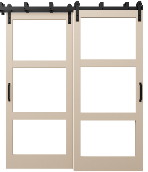 three panel glass barn door with wood frame sand