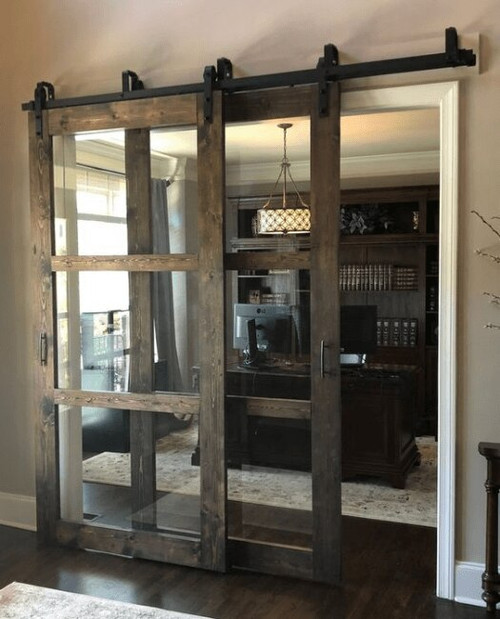 Three Panel Glass Bypass Sliding Barn Door Lifestyle