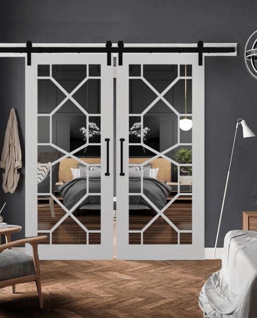 Stacey geometric mirror double  barn door lifestyle bedroom closet