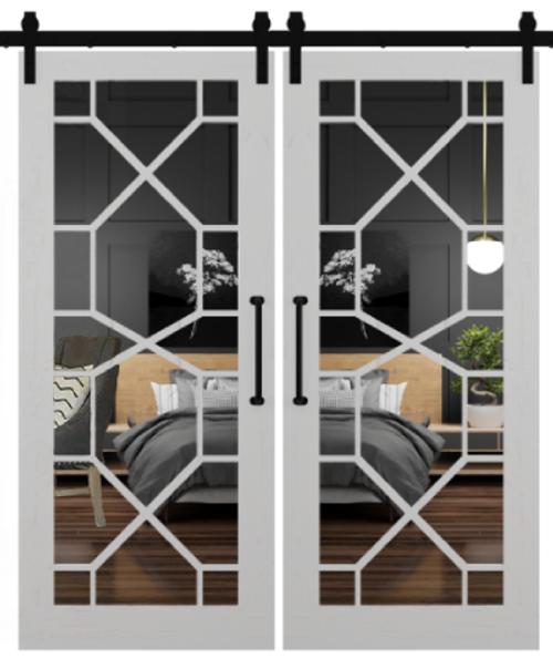 stacey geometric mirror double barn door white paint