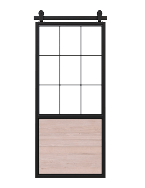 unfinished wood panel  barn door with square pane glass