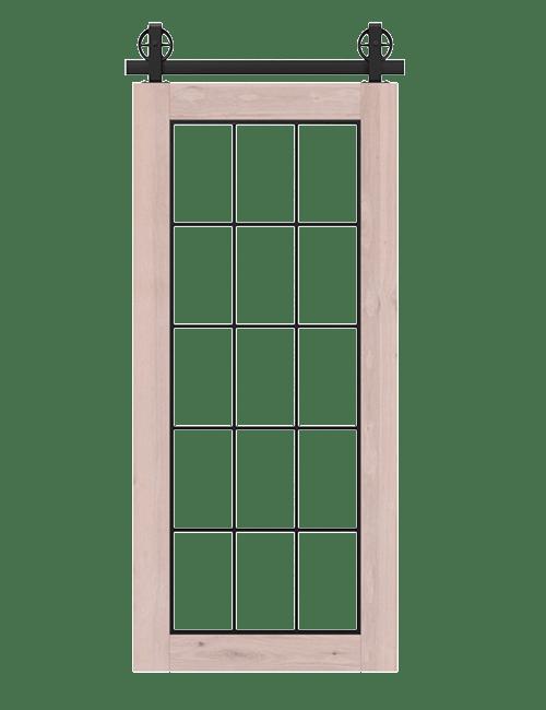rustic unfinished wood barn door with full glass window pane