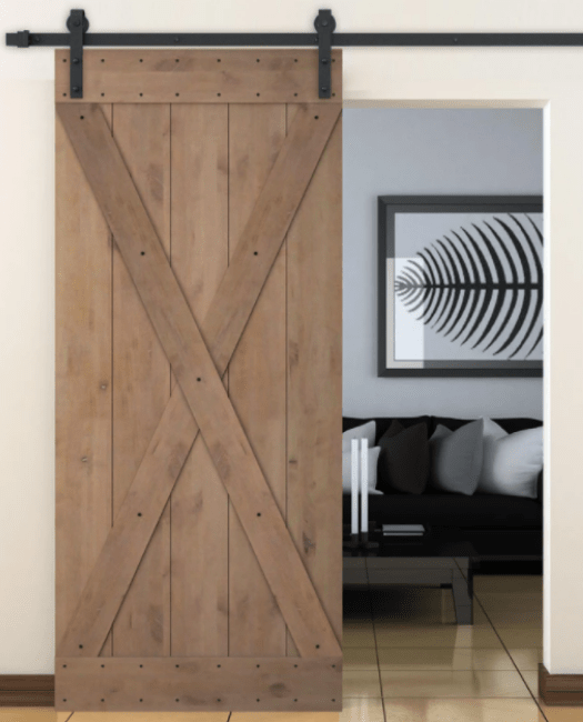 The Sedona Wood Sliding Barn Door in Living Room