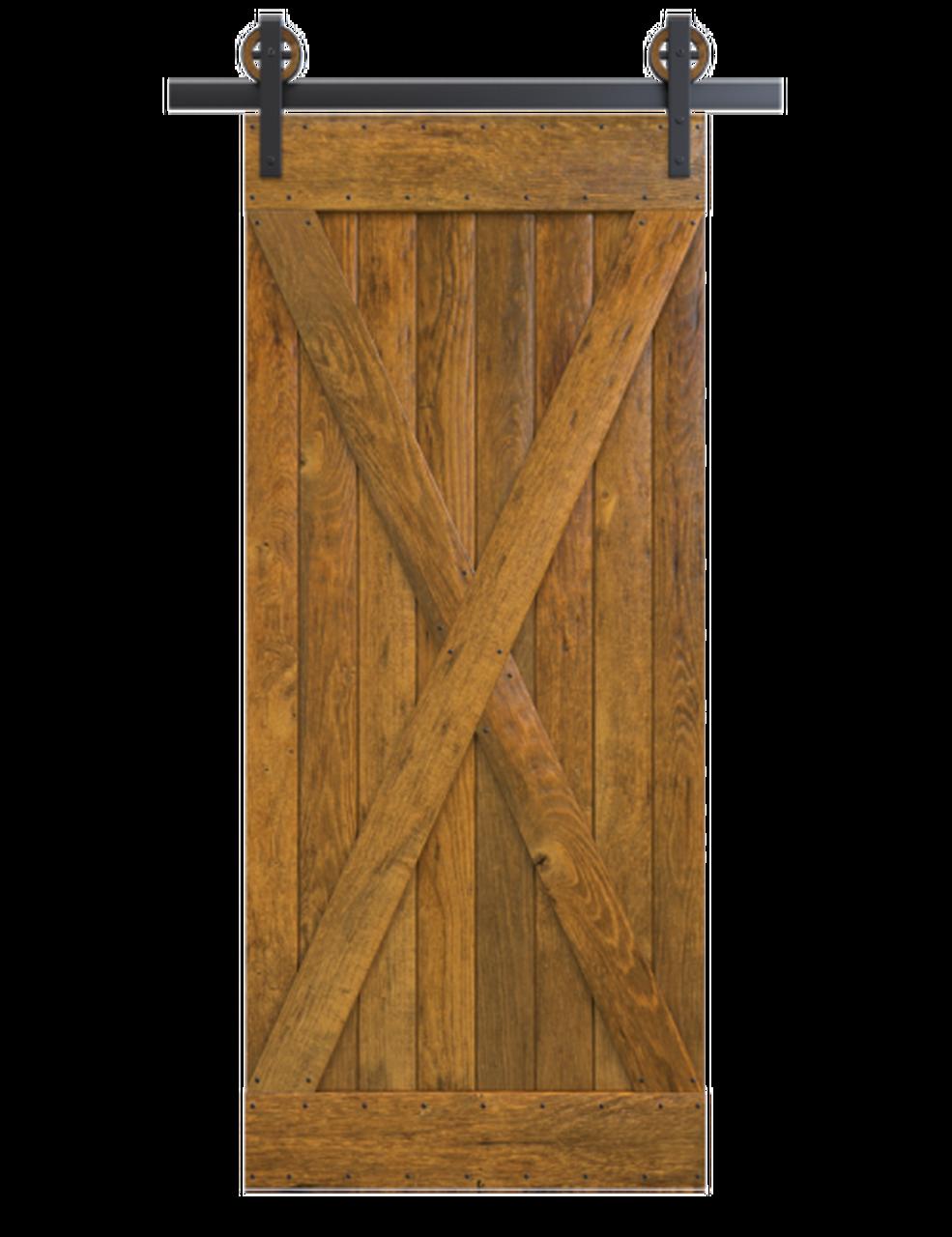 sedona stained wood full x panel barn door