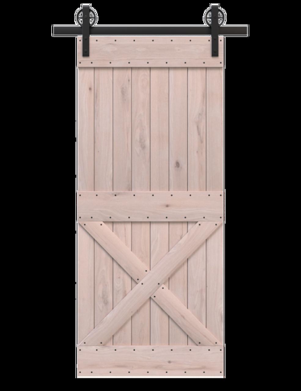 spokane unfinished wood half x panel barn door