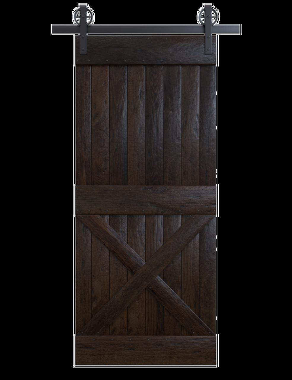 spokane black painted wood half x panel barn door