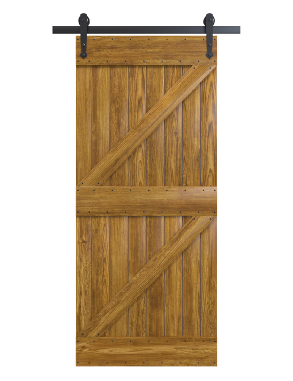 portland stained wood double z style barn door