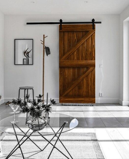 Portland wood custom sliding barn door lifestyle living room closet