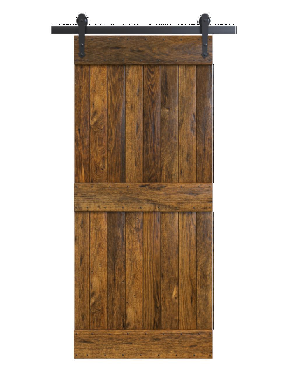 2 panel rustic stained wood barn door