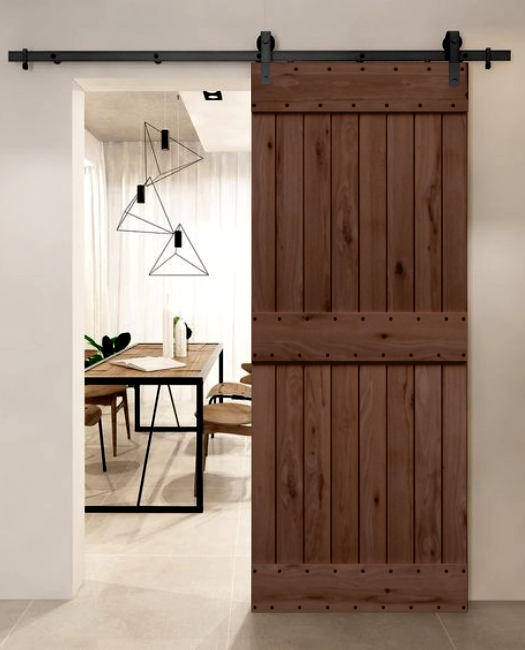 living room charleston wood sliding barn door, in dark stain.