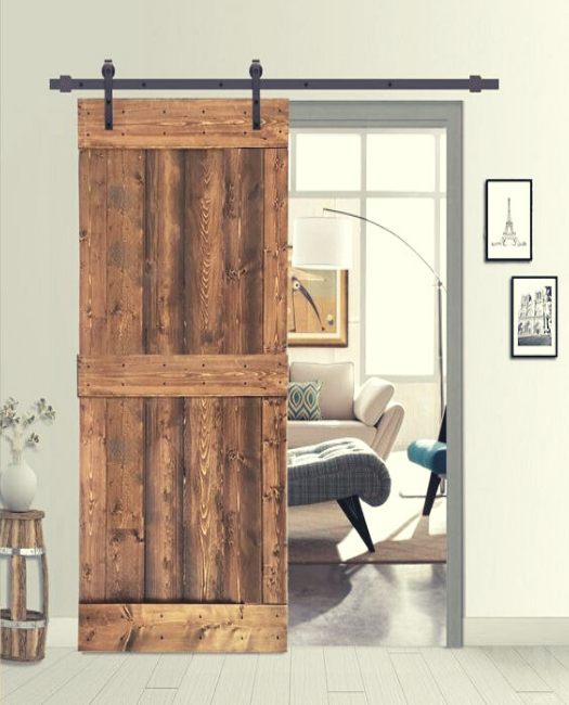 office sliding wood barn door, in darkwood  stain.called the charleston in medium honey stain