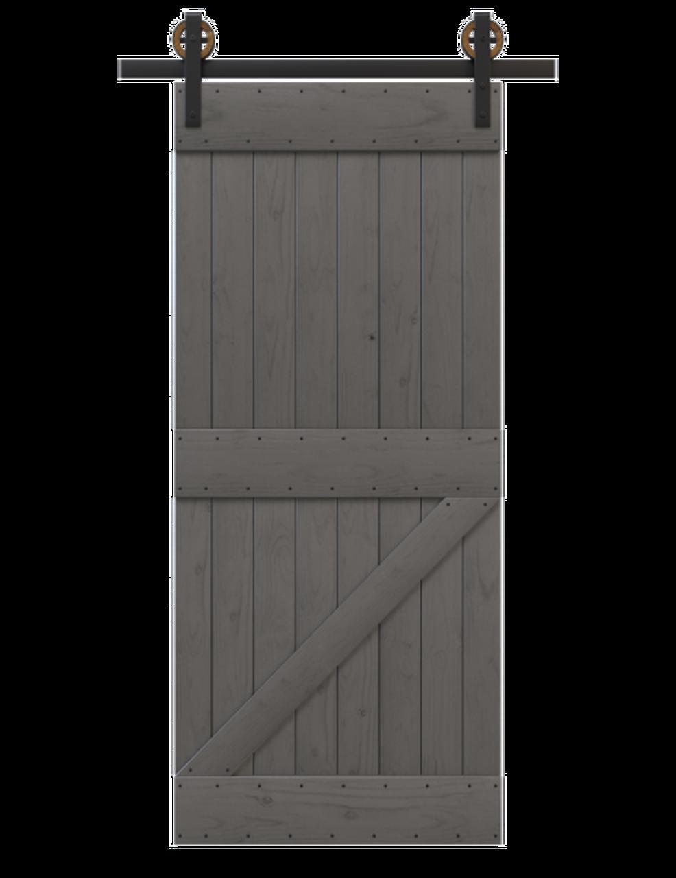 charcoal painted wood board and batten barn door