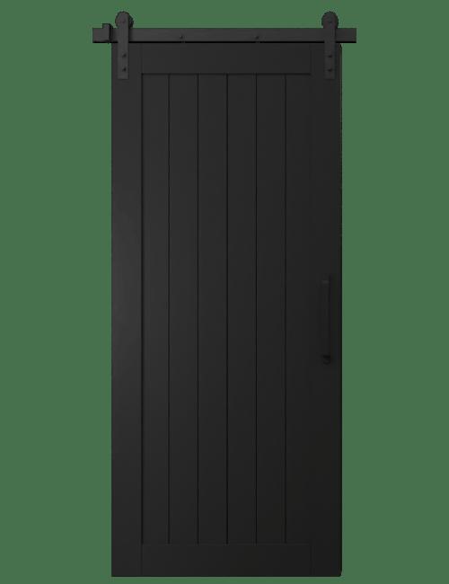 hudson black  wood vertical full panel barn door