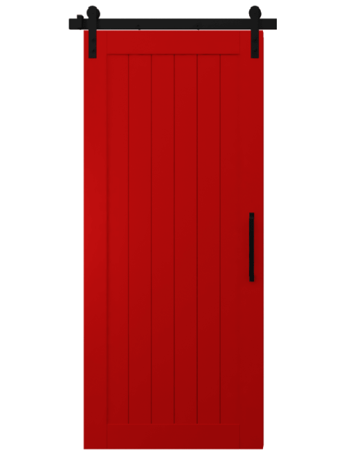 hudson red wood vertical full panel barn door