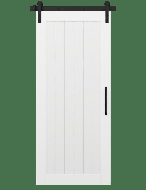 hudson white wood vertical full panel barn door