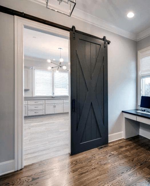 The Savannah Wood Sliding Barn Door Lifestyle - Kitchen Office