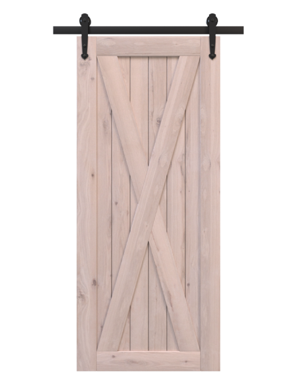 savannah unfinished wood barn door with classic full x panel