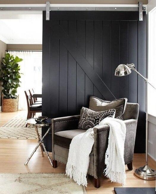 Juneau Matte Black Wood Sliding Barn Door