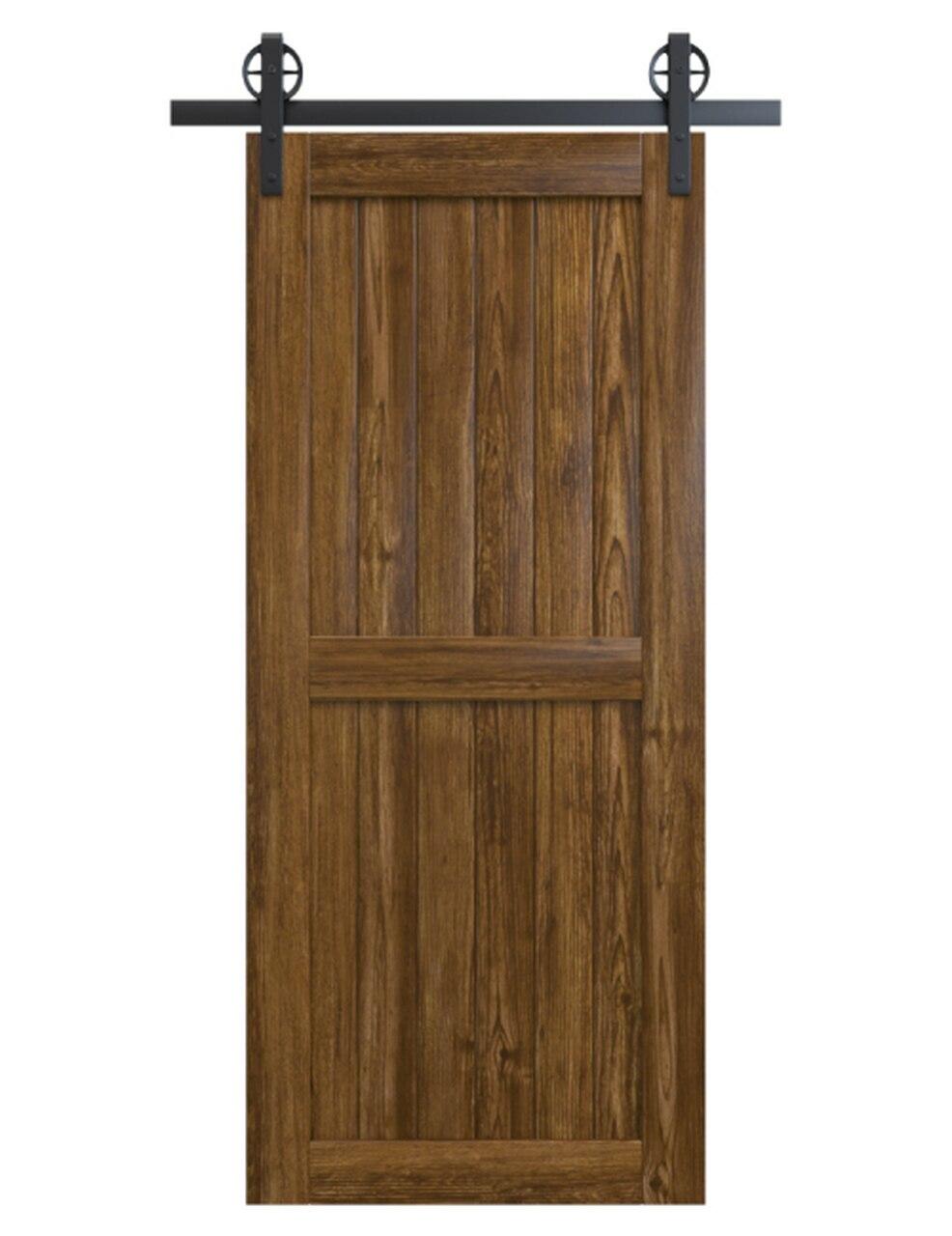 naples stained wood 2 panel barn door