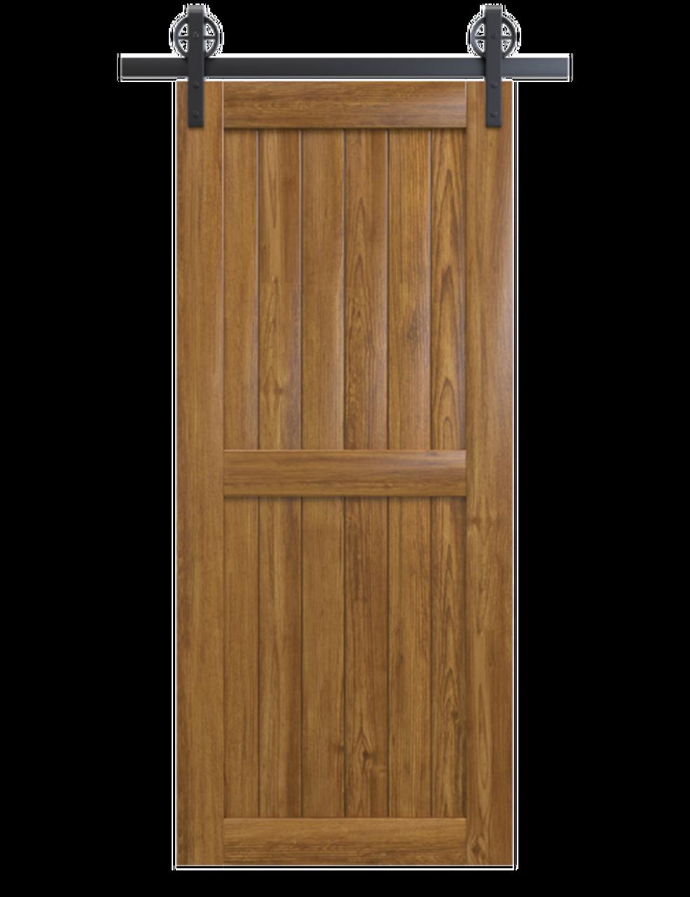 naples light stained wood 2 panel barn door