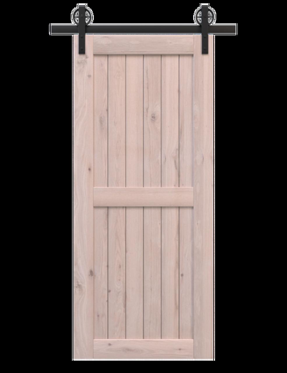 naples unfinished wood 2 panel barn door