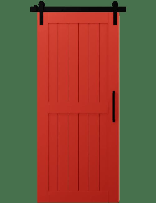 red napled wood 2 panel barn door