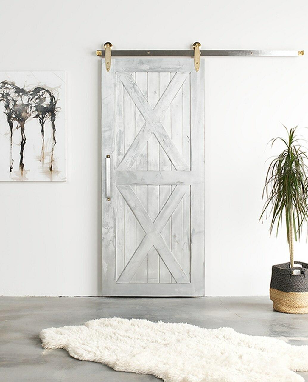 nantucket painted wood barn door with double x panel
