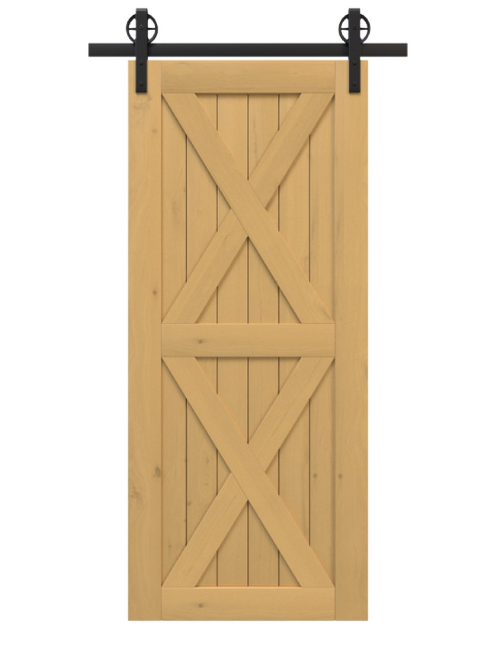 nantucket gold stained wood barn door with double x panel