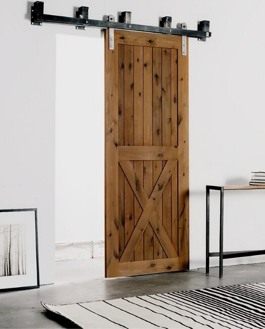 Stained Lake Placid wood Sliding Barn Door Lifestyle In Modern Minimalist Stylings